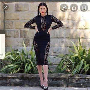 Black lace accent midi dress